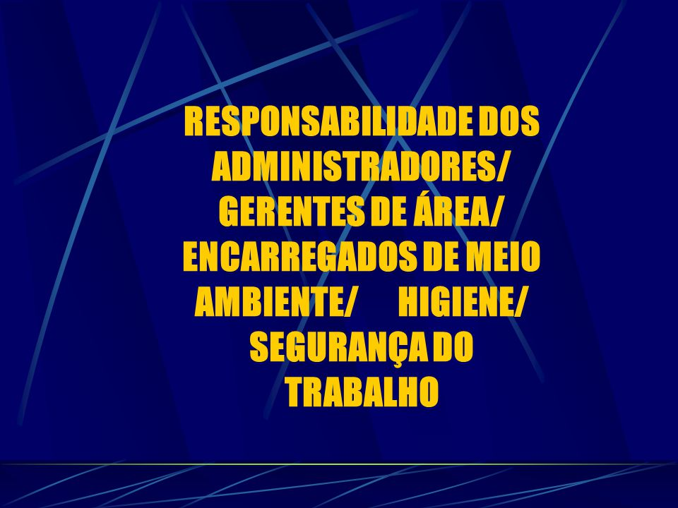 RESPONSABILIDADE DOS ADMINISTRADORES/ GERENTES DE ÁREA/ ENCARREGADOS DE MEIO AMBIENTE/ HIGIENE/