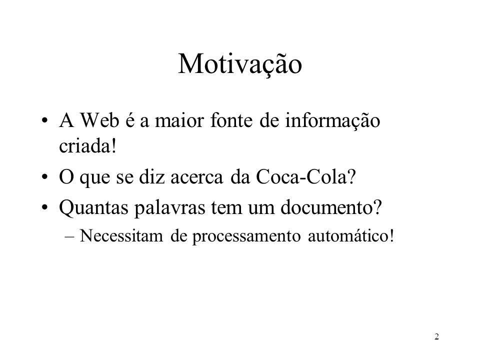 Motivação A Web é a maior fonte de informação criada!