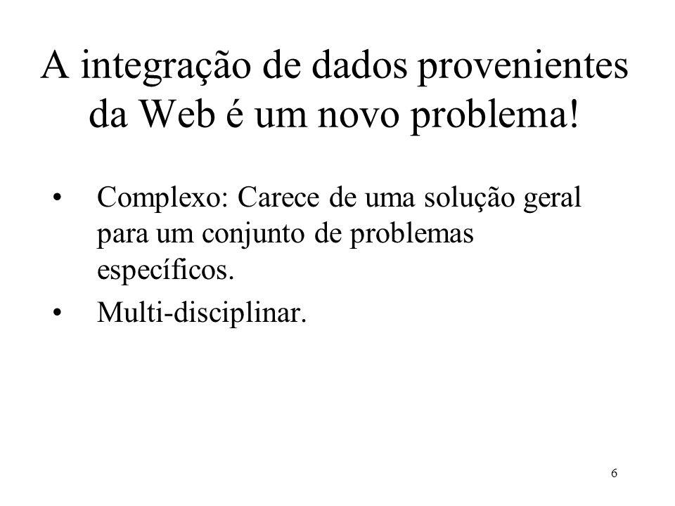 A integração de dados provenientes da Web é um novo problema!