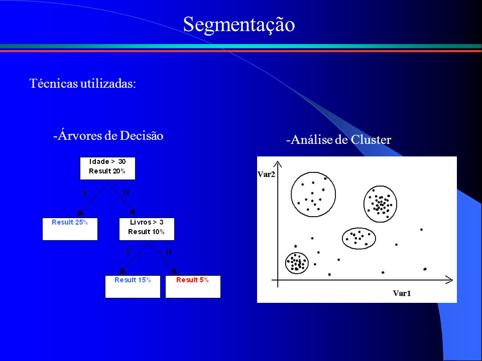 Segmentação Técnicas utilizadas: Árvores de Decisão Análise de Cluster