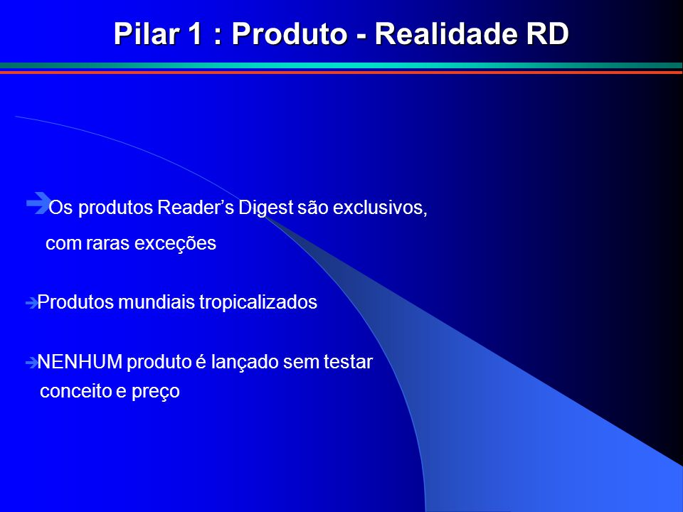 Pilar 1 : Produto - Realidade RD