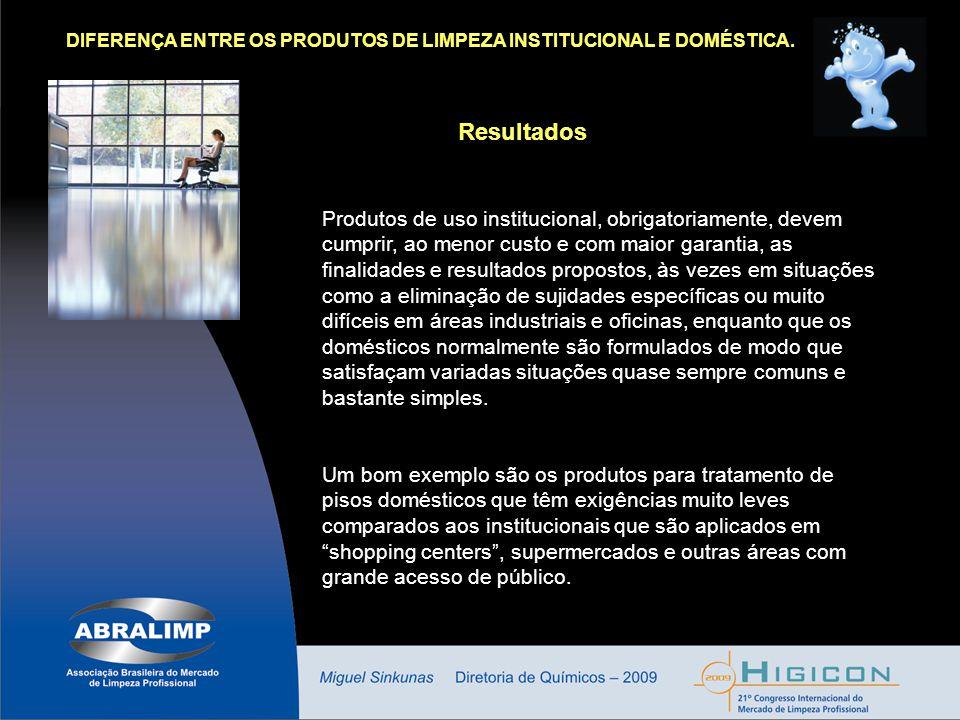 DIFERENÇA ENTRE OS PRODUTOS DE LIMPEZA INSTITUCIONAL E DOMÉSTICA.