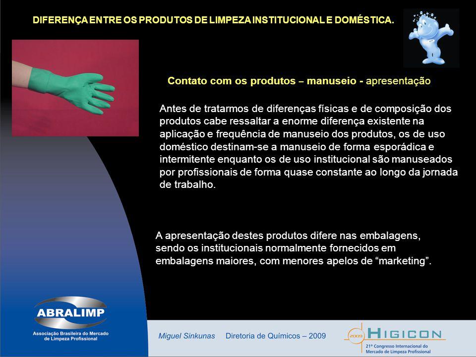 Contato com os produtos – manuseio - apresentação