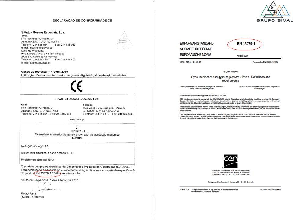 Exemplo de uma declaração de conformidade CE de uma Massa de Estucar – Project 2010 que cumpre os requisitos da DPC.