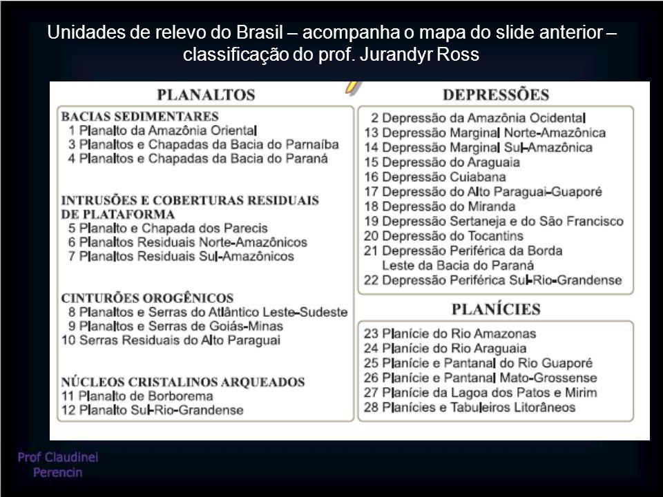 Unidades de relevo do Brasil – acompanha o mapa do slide anterior – classificação do prof.