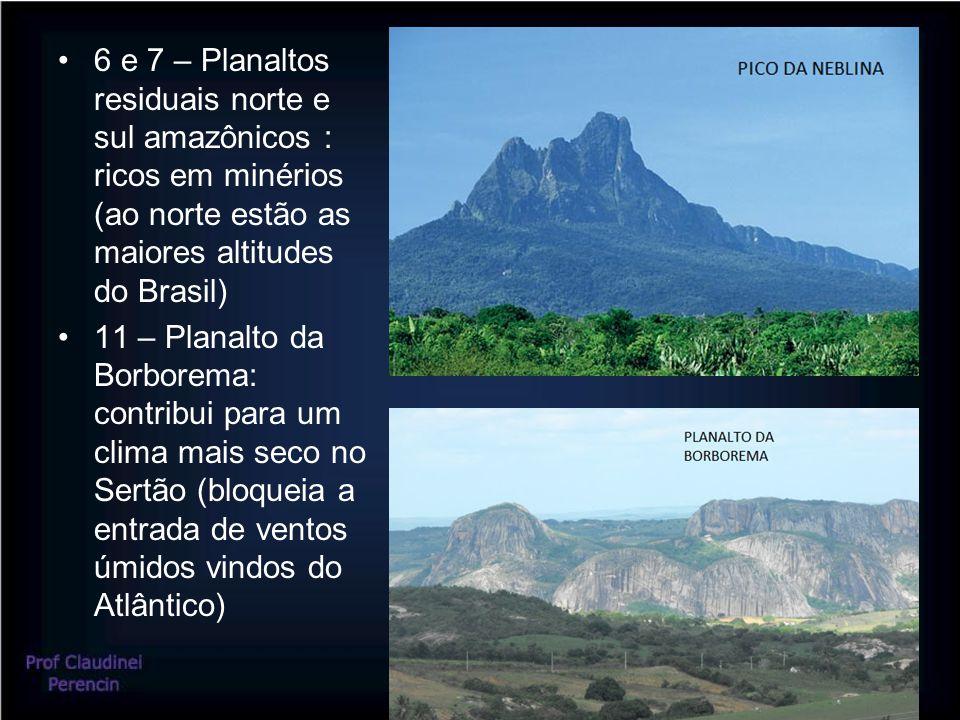 6 e 7 – Planaltos residuais norte e sul amazônicos : ricos em minérios (ao norte estão as maiores altitudes do Brasil)
