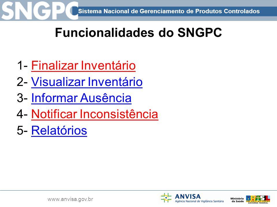 Funcionalidades do SNGPC