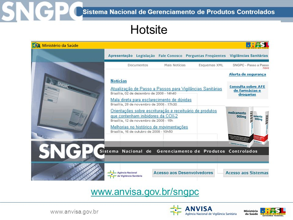 Hotsite www.anvisa.gov.br/sngpc