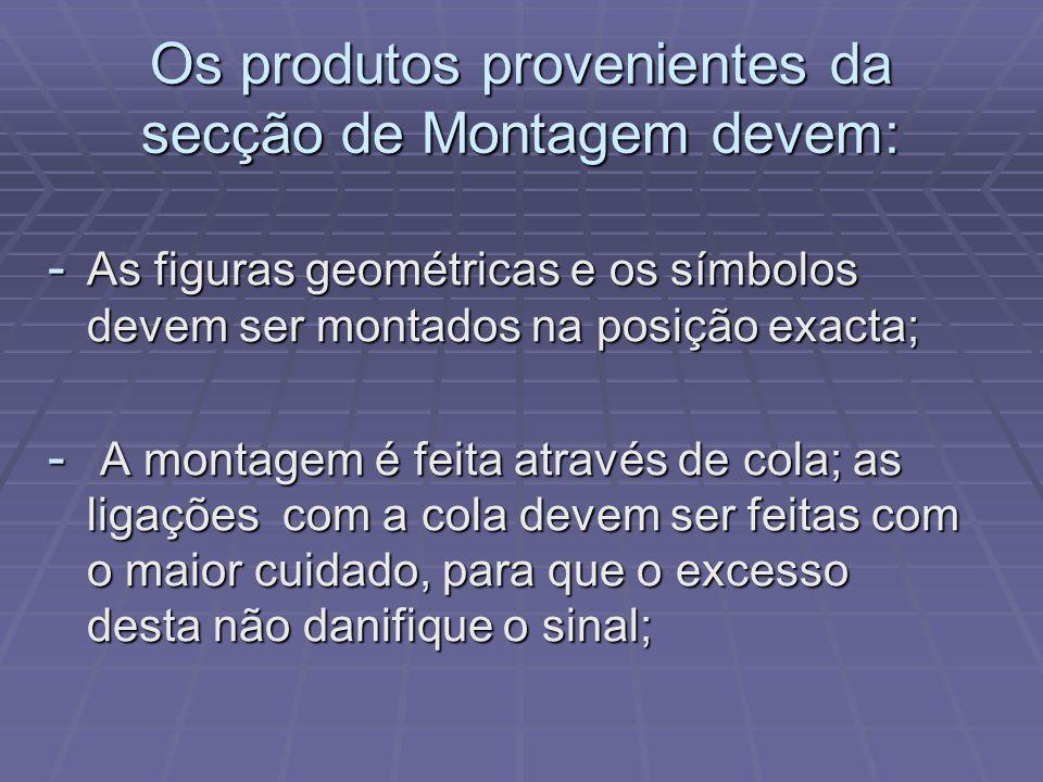 Os produtos provenientes da secção de Montagem devem: