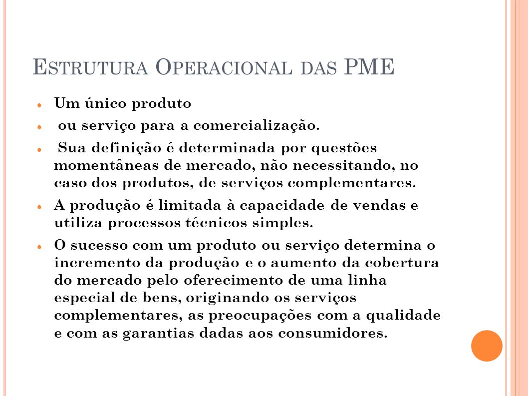 Estrutura Operacional das PME