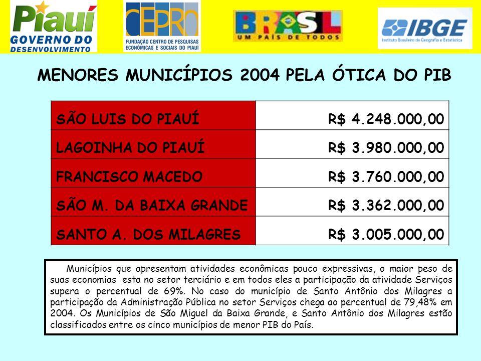 MENORES MUNICÍPIOS 2004 PELA ÓTICA DO PIB