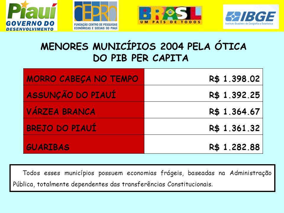 MENORES MUNICÍPIOS 2004 PELA ÓTICA DO PIB PER CAPITA