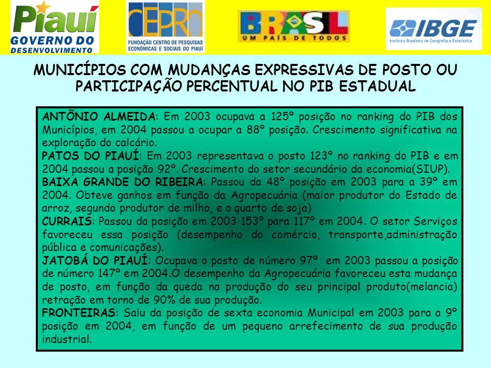 MUNICÍPIOS COM MUDANÇAS EXPRESSIVAS DE POSTO OU PARTICIPAÇÃO PERCENTUAL NO PIB ESTADUAL