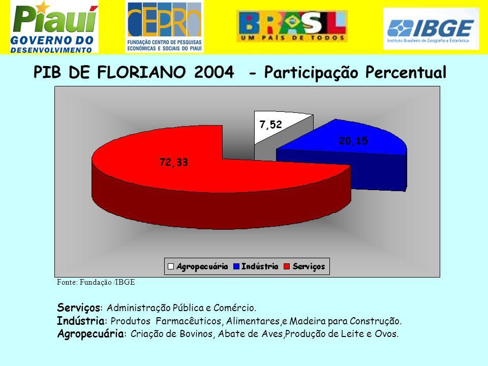 PIB DE FLORIANO 2004 - Participação Percentual
