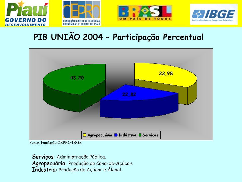 PIB UNIÃO 2004 – Participação Percentual