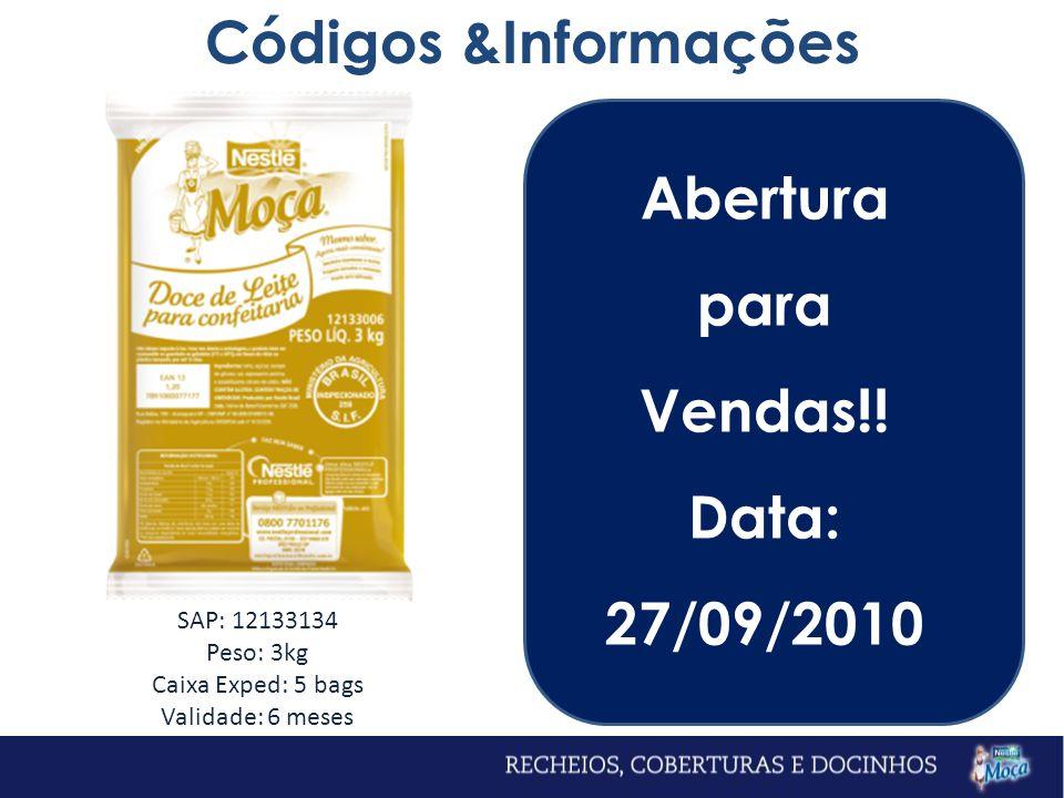 Códigos &Informações Abertura para Vendas!! Data: 27/09/2010