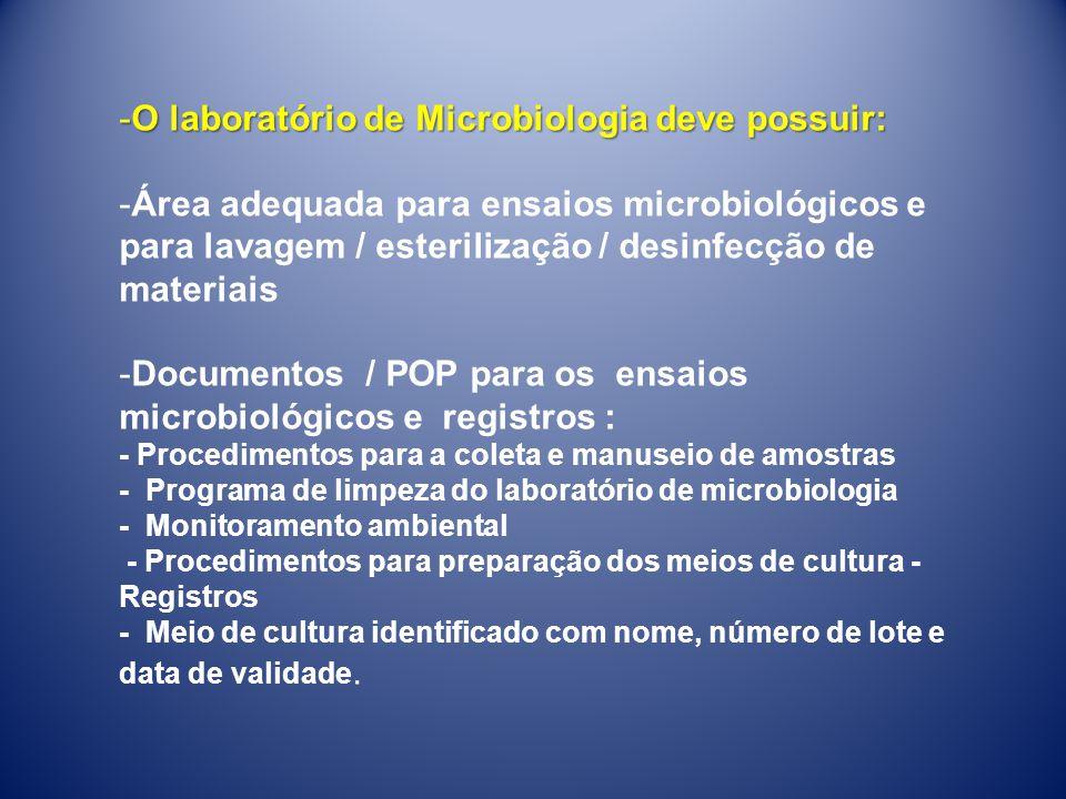 O laboratório de Microbiologia deve possuir: