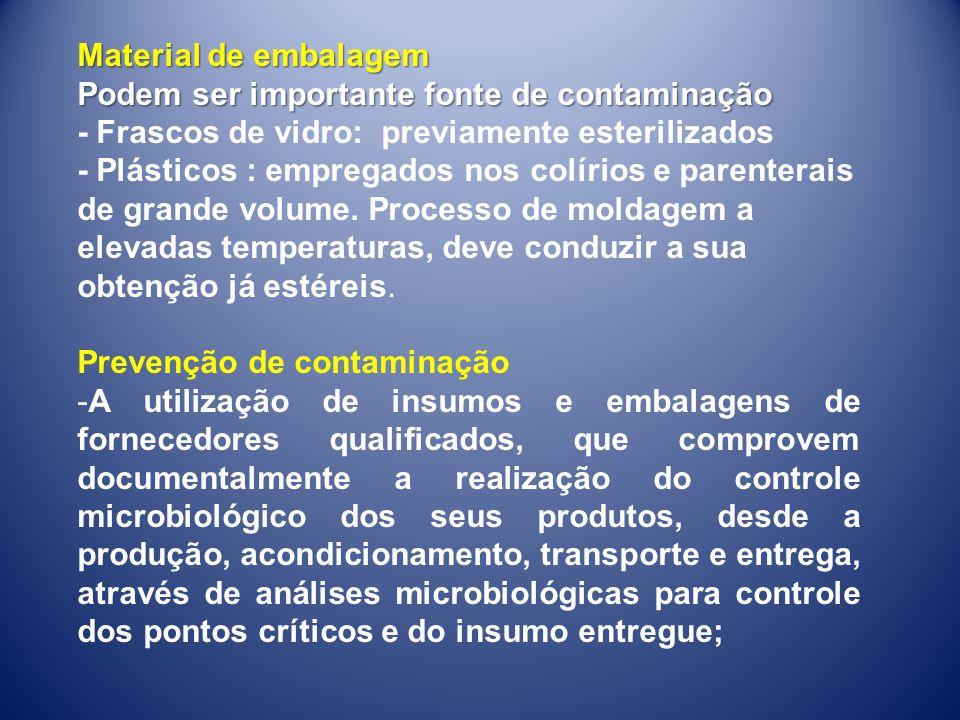 Material de embalagem Podem ser importante fonte de contaminação. - Frascos de vidro: previamente esterilizados.