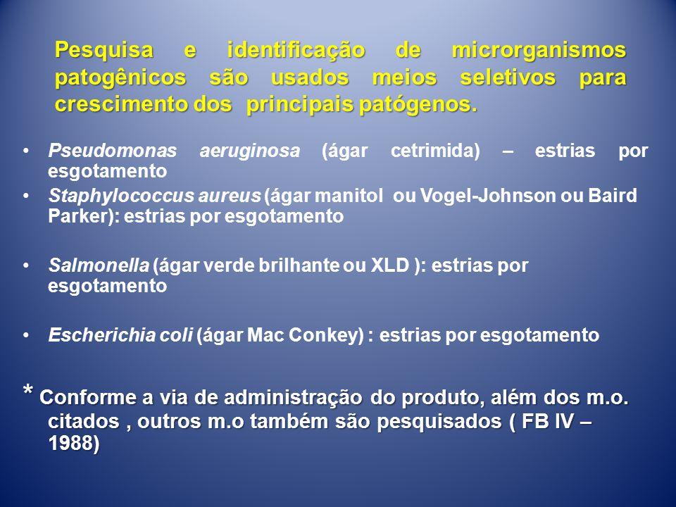 Pesquisa e identificação de microrganismos patogênicos são usados meios seletivos para crescimento dos principais patógenos.