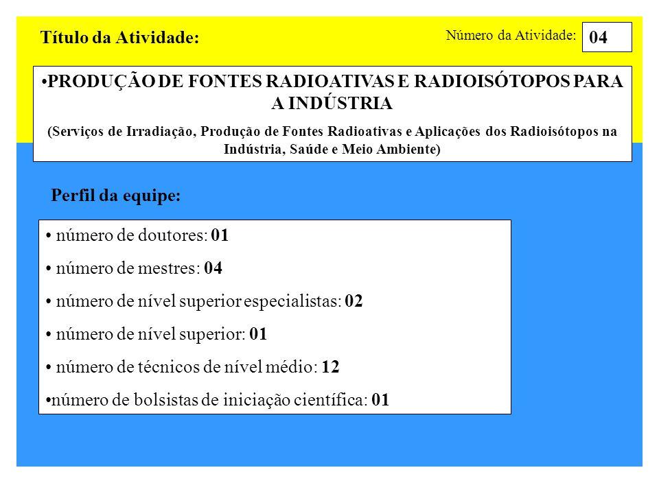 PRODUÇÃO DE FONTES RADIOATIVAS E RADIOISÓTOPOS PARA A INDÚSTRIA