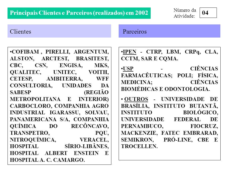 Principais Clientes e Parceiros (realizados) em 2002 04