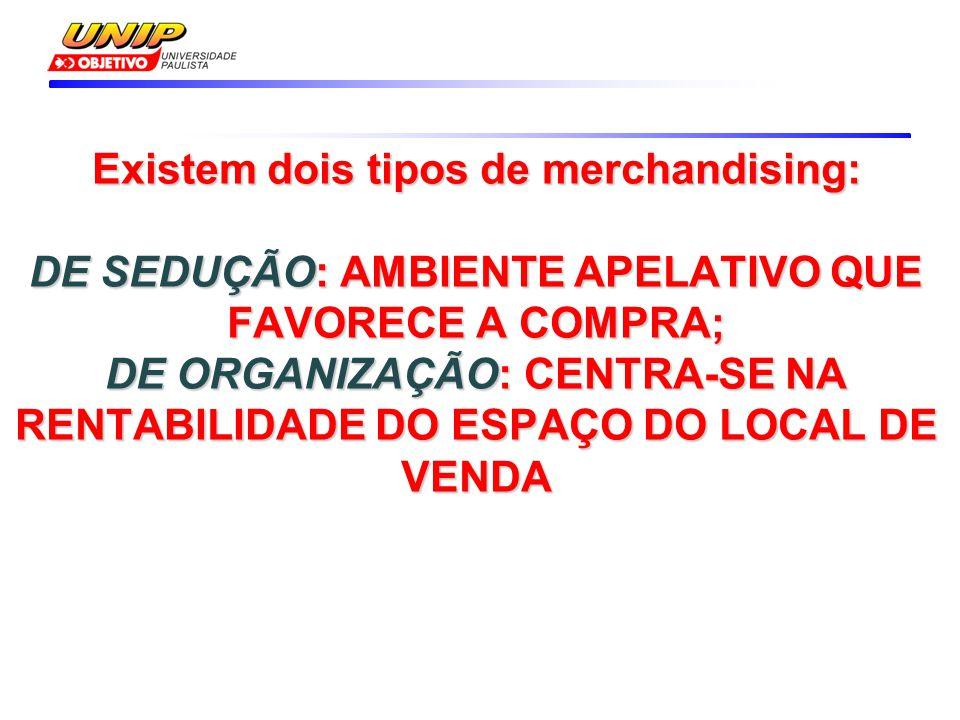 Existem dois tipos de merchandising: DE SEDUÇÃO: AMBIENTE APELATIVO QUE FAVORECE A COMPRA; DE ORGANIZAÇÃO: CENTRA-SE NA RENTABILIDADE DO ESPAÇO DO LOCAL DE VENDA