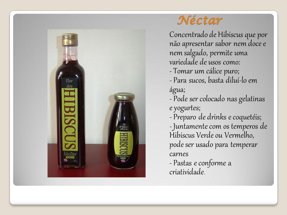 Néctar Concentrado de Hibiscus que por não apresentar sabor nem doce e nem salgado, permite uma variedade de usos como: