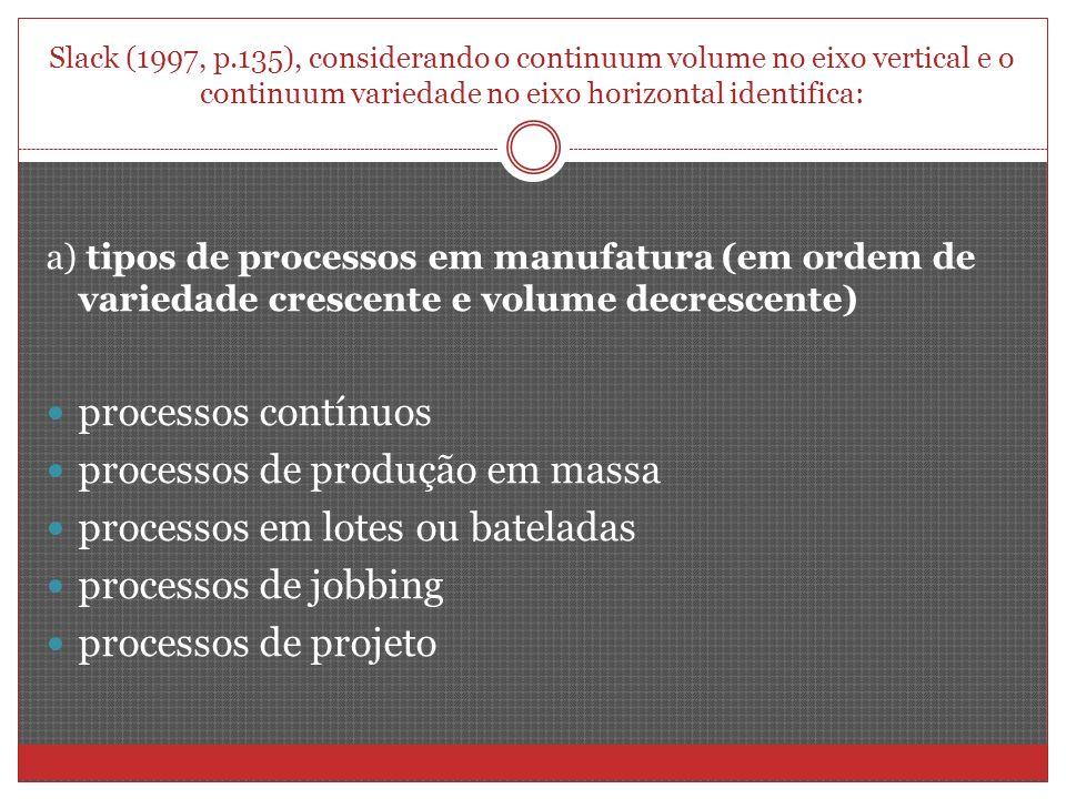 processos de produção em massa processos em lotes ou bateladas