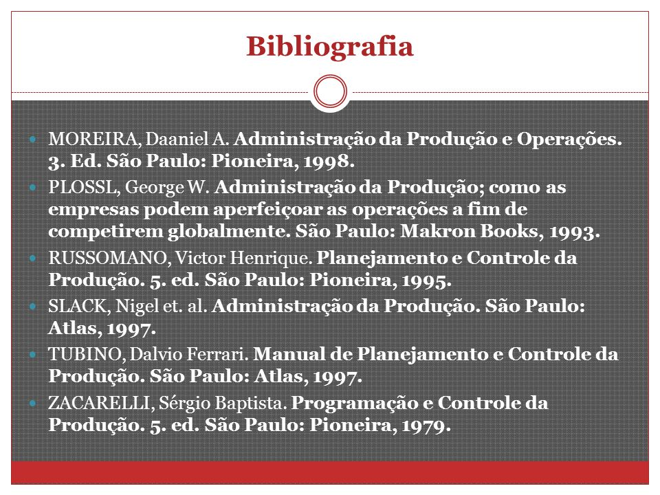 Bibliografia MOREIRA, Daaniel A. Administração da Produção e Operações. 3. Ed. São Paulo: Pioneira, 1998.