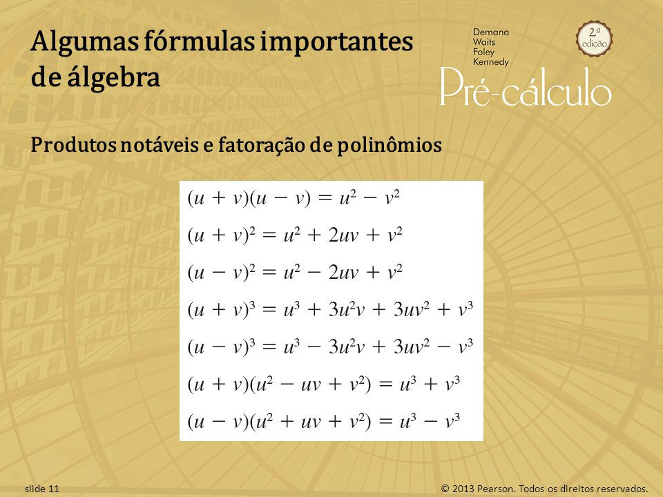 Algumas fórmulas importantes de álgebra