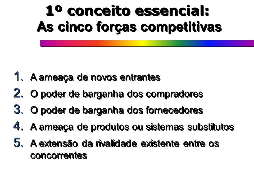 1º conceito essencial: As cinco forças competitivas