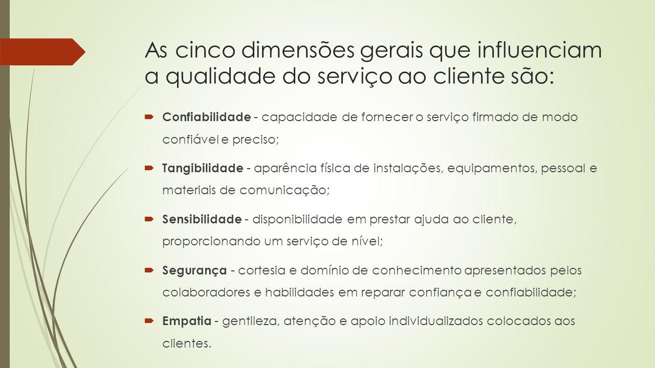 As cinco dimensões gerais que influenciam a qualidade do serviço ao cliente são: