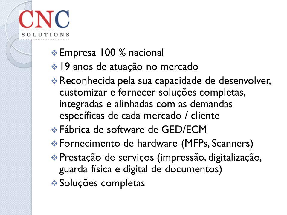 Empresa 100 % nacional 19 anos de atuação no mercado.