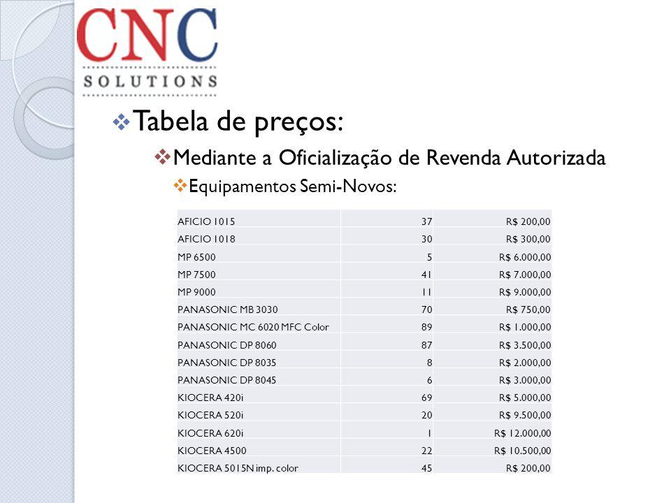 Tabela de preços: Mediante a Oficialização de Revenda Autorizada