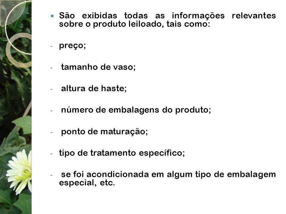 São exibidas todas as informações relevantes sobre o produto leiloado, tais como: