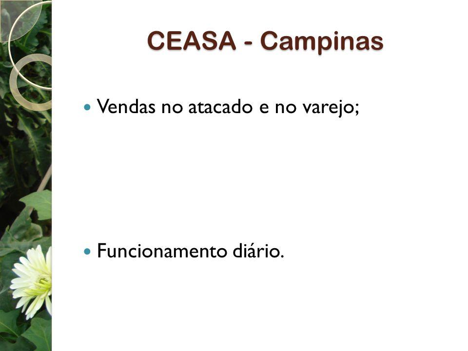 CEASA - Campinas Vendas no atacado e no varejo; Funcionamento diário.