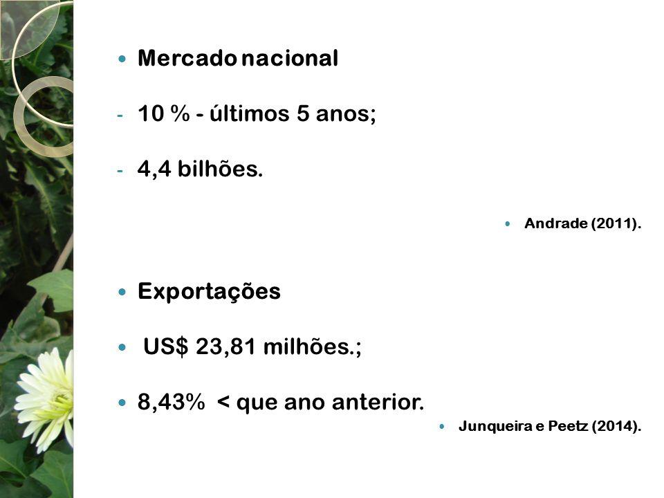 Mercado nacional 10 % - últimos 5 anos; 4,4 bilhões. Exportações