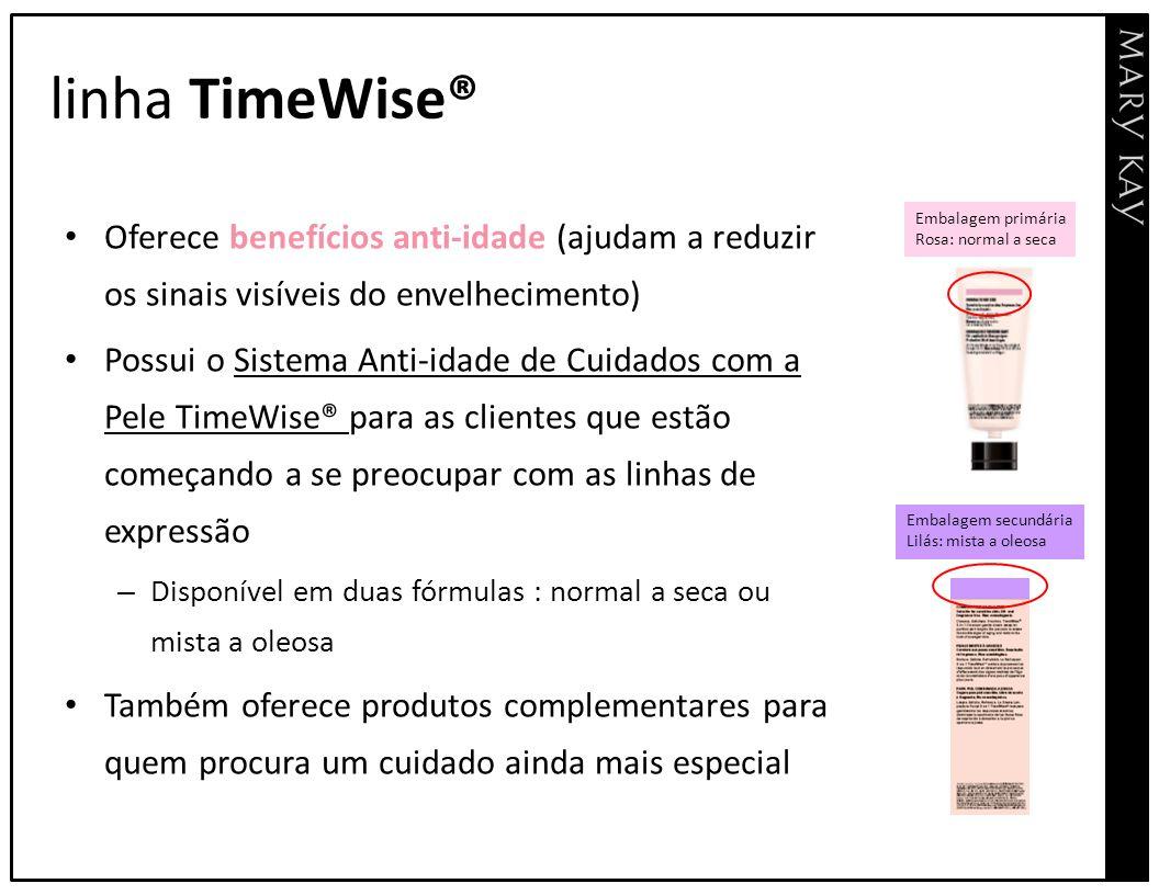 linha TimeWise® Oferece benefícios anti-idade (ajudam a reduzir os sinais visíveis do envelhecimento)