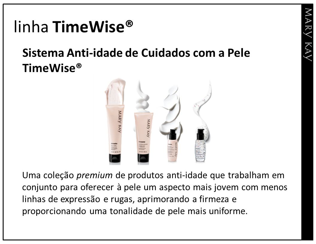 linha TimeWise® Sistema Anti-idade de Cuidados com a Pele TimeWise®