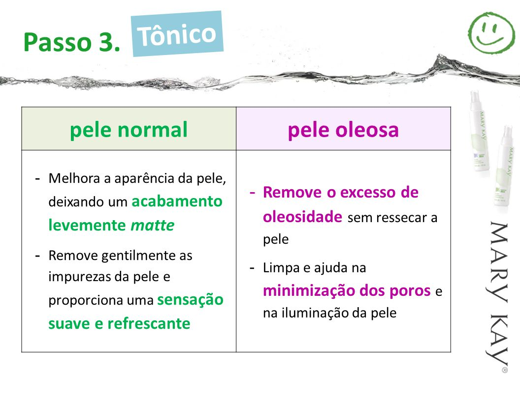 Tônico Passo 3. pele normal pele oleosa