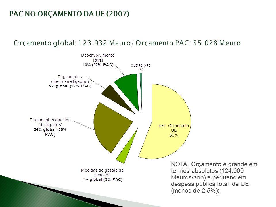 Orçamento global: 123.932 Meuro/ Orçamento PAC: 55.028 Meuro