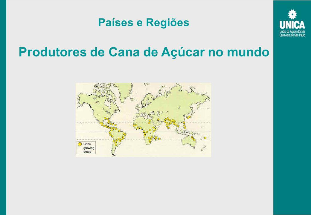 Países e Regiões Produtores de Cana de Açúcar no mundo