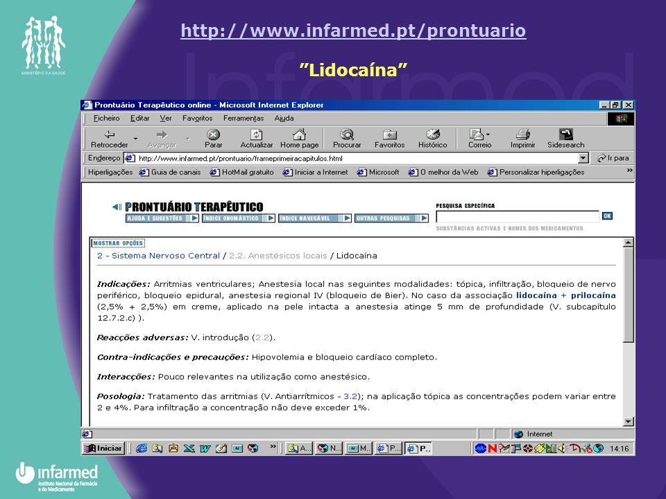 http://www.infarmed.pt/prontuario Lidocaína