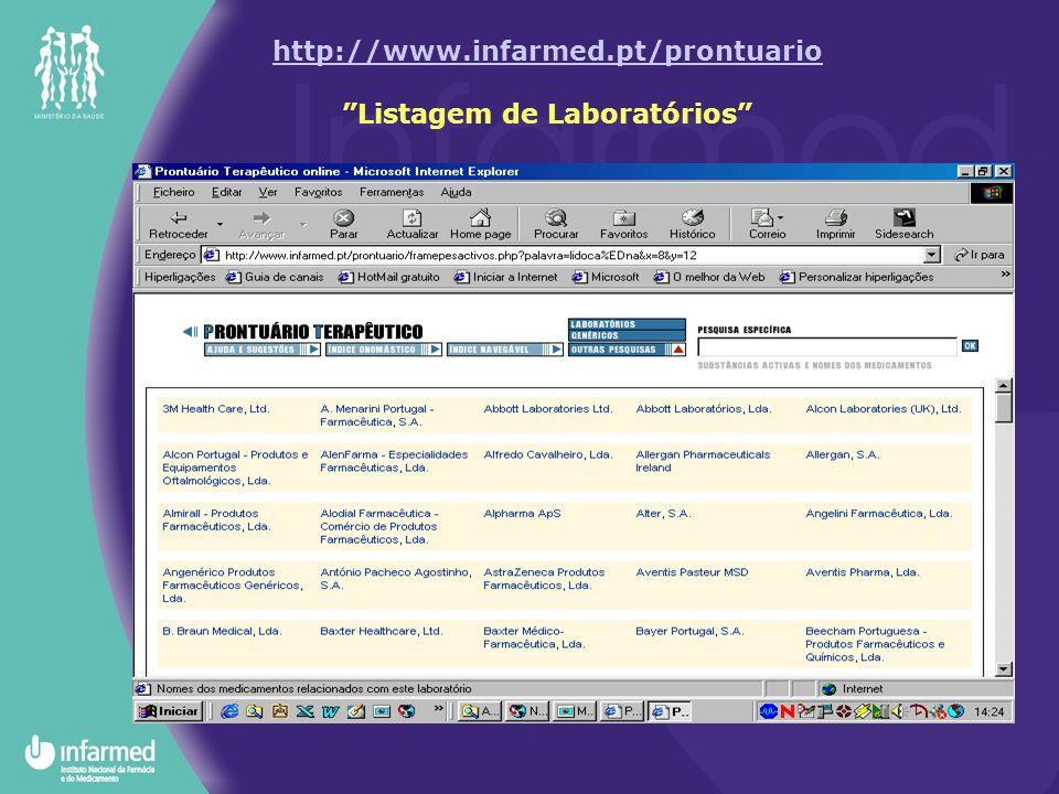 http://www.infarmed.pt/prontuario Listagem de Laboratórios