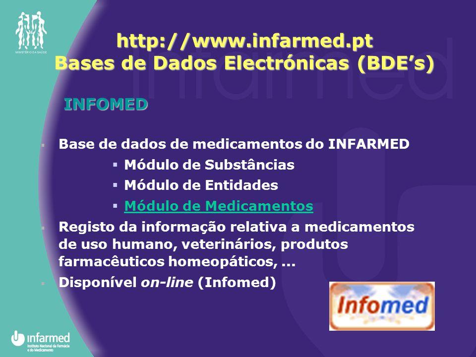 http://www.infarmed.pt Bases de Dados Electrónicas (BDE's)