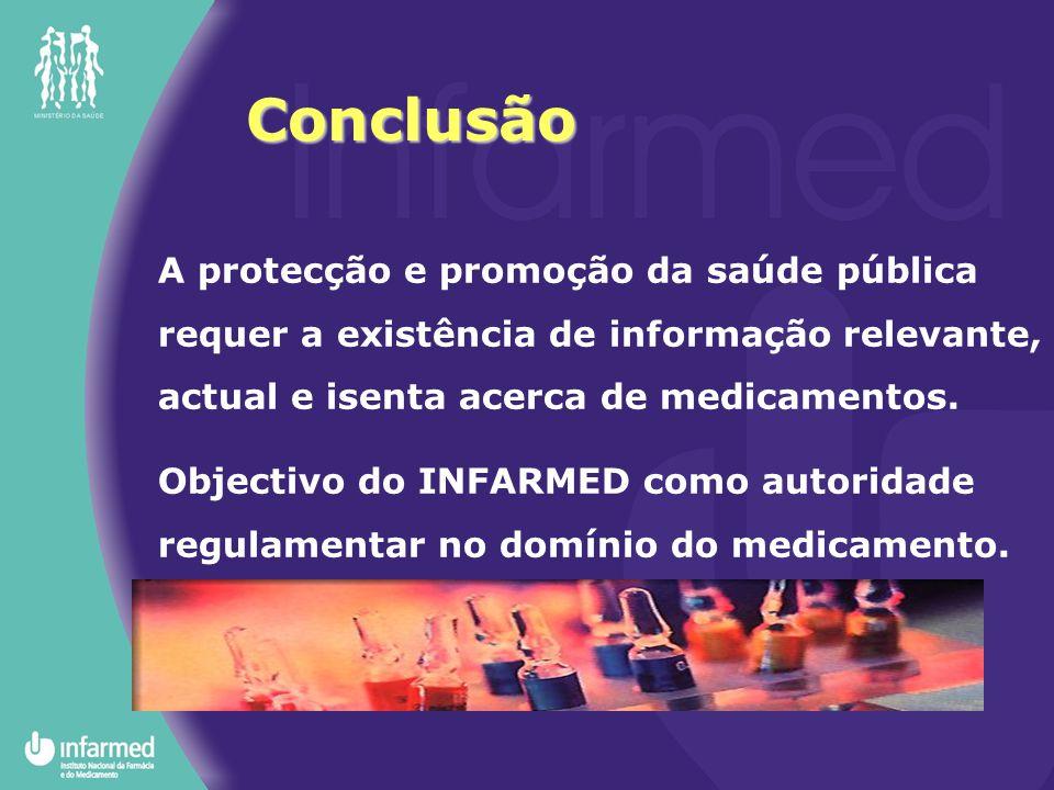 Conclusão A protecção e promoção da saúde pública requer a existência de informação relevante, actual e isenta acerca de medicamentos.