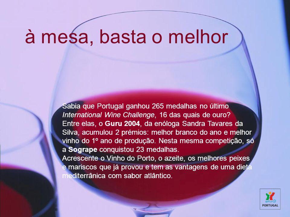 à mesa, basta o melhor Sabia que Portugal ganhou 265 medalhas no último International Wine Challenge, 16 das quais de ouro