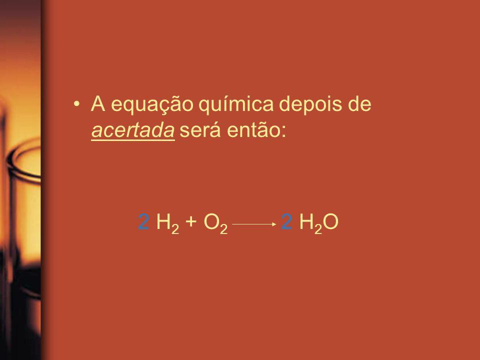 A equação química depois de acertada será então: