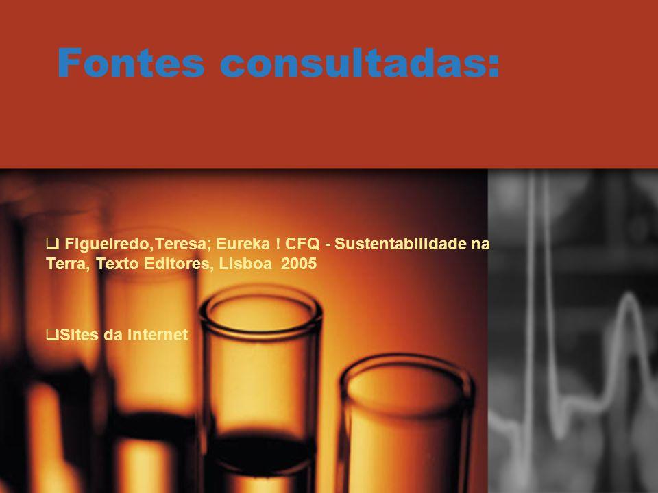 Fontes consultadas: Figueiredo,Teresa; Eureka ! CFQ - Sustentabilidade na Terra, Texto Editores, Lisboa 2005.
