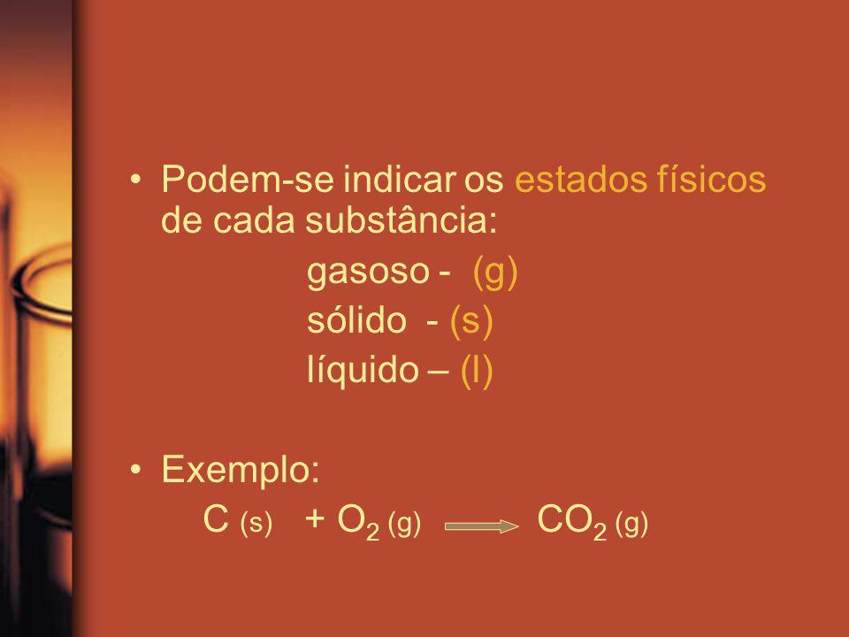 Podem-se indicar os estados físicos de cada substância:
